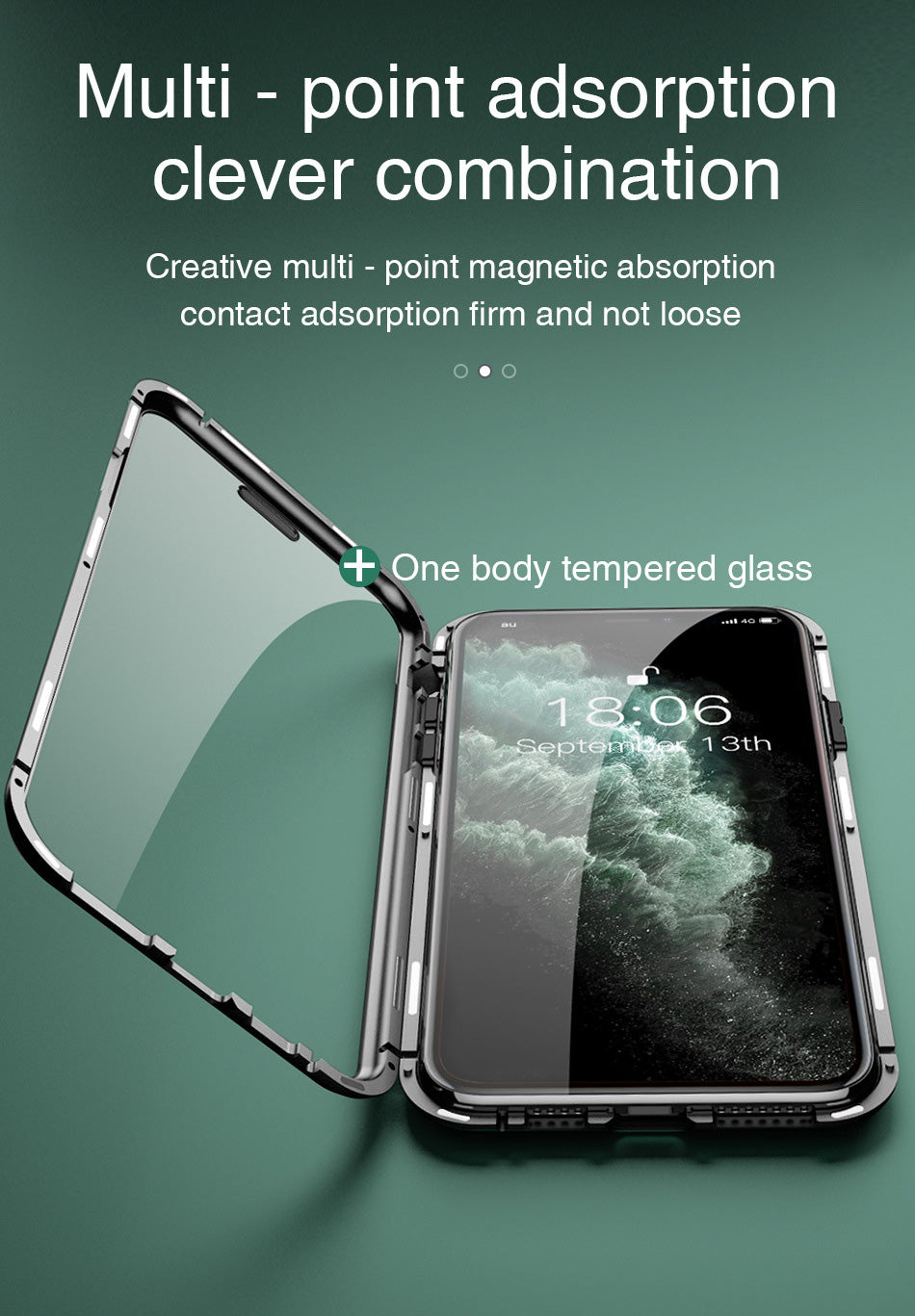 360 Metal Frame Double Sided Glass Magnetic Case for iPhone 12 Pro Max XR XS MAX 11 8 7 6 6s Plus Full Protection Tempered Glass Phone Cover for iPhone 12 7 8