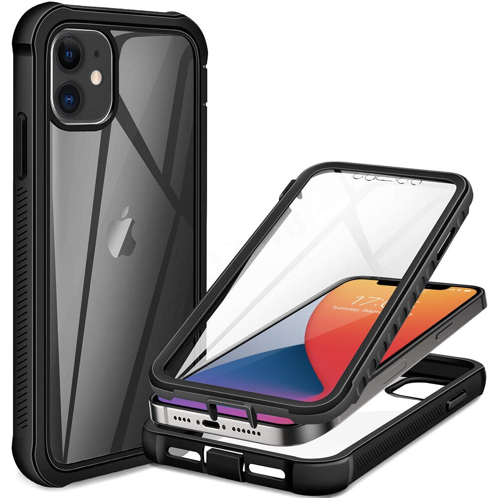 360 Protection Full Body Transparent Case For iPhone 12 Pro Max Mini 11 Xs X Xr 6 6S 7 8 Plus SE2 Shock Absorption Bumper Design Phone Cover Case For iPhone