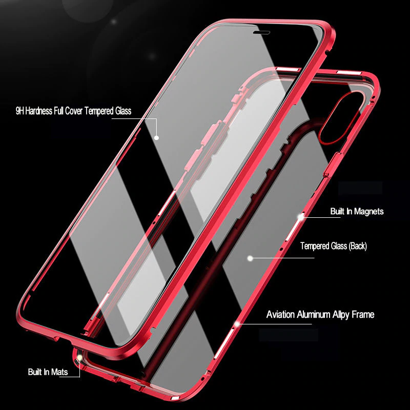 360 Protection Magnetic Metal Case For iPhone XR X XS Max Plus 6 6S 7 8 iPhone 11 Pro Max Metal Case With Tempered Glass On Both Sides