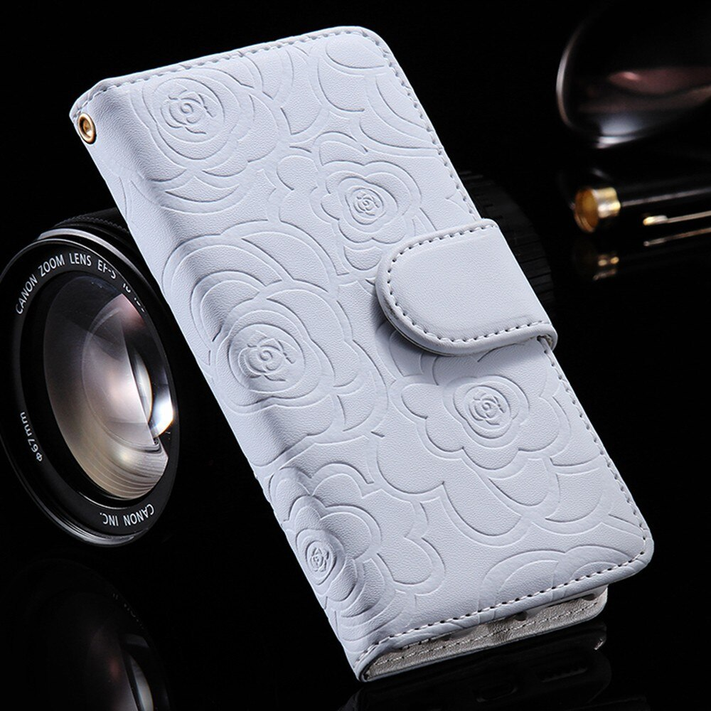 3D Flower Flip Stand Leather Wallet Case For iPhone 5 5s 6 6s 7 7Plus X XR XS Max Card Holder Case Pink White Black Leather iPhone Case