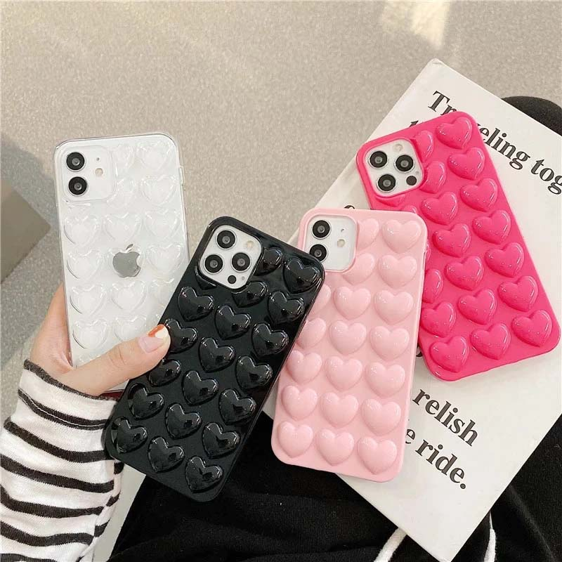 3D Love Heart Bubble Phone Case For iPhone 12 Pro Max 7 8 6S Plus 11 Pro XS Max XR X SE 2020 Cute Pink Candy Color Back Cover Case For iPhone