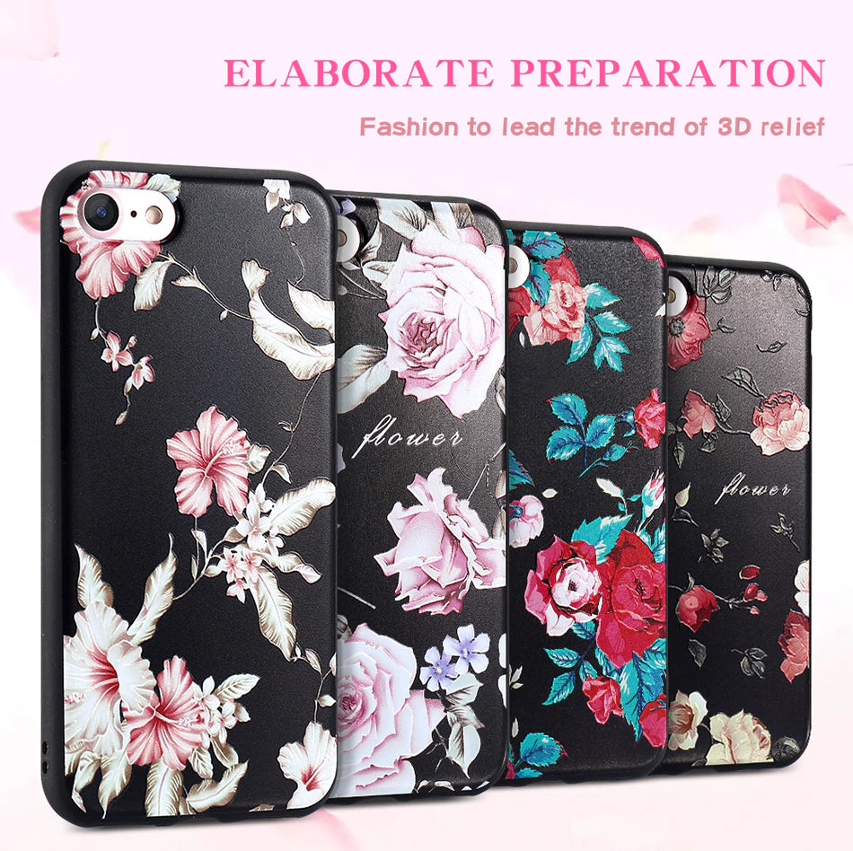 3D Relief Floral Fashion Luxury Cover for iPhone 6 6s iPhone 7 8 Plus Soft Silicone Case for iPhone X XS MAX XR iPhone 5S SE 5