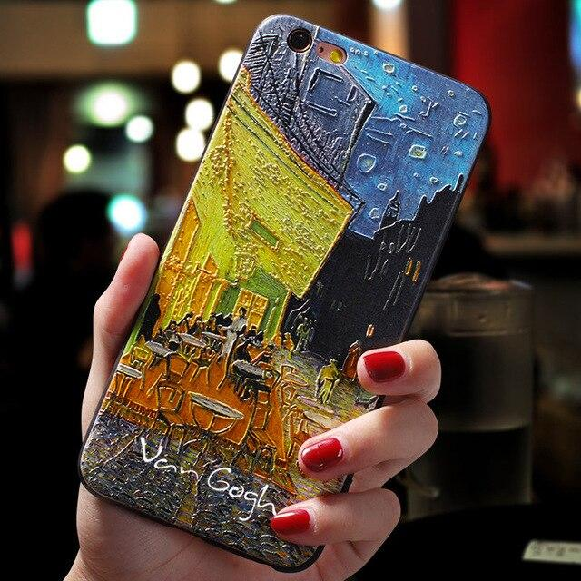Oil Paintings, Sunflowers, Starry Nights .. Introducing these beautiful 3D Textured Famous Paintings Van Gogh Black Phone Case For iPhone 11 Pro Max 6 7 8 6s Plus 5 5s se Cover For iPhone XR X XS Max SE 2020.