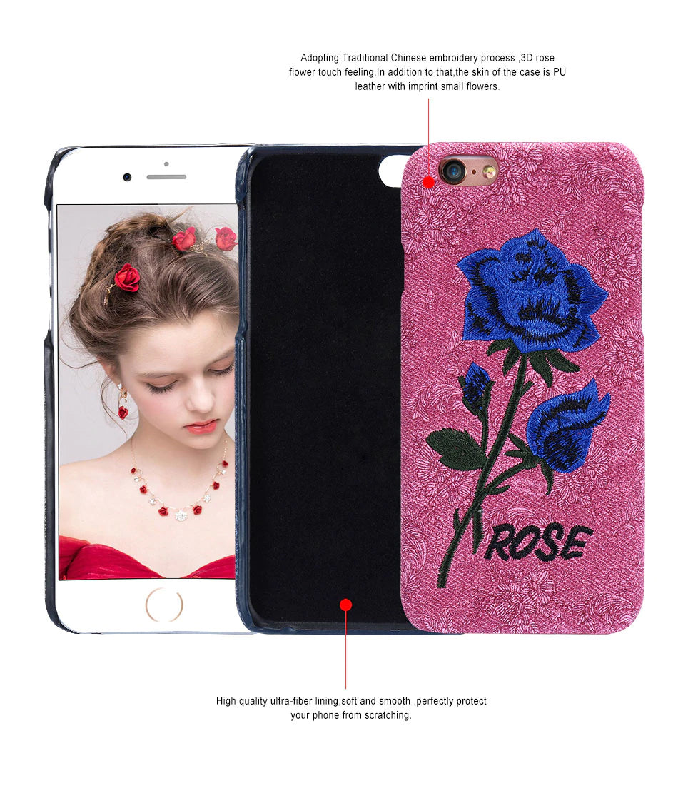 3D Vintage Floral Embroidered Case For iPhone 6S 6 7 8 Plus X 10 Cover Flower Rose Pattern Texture Phone Case For iPhone 6S 5S 5 SE X Shell