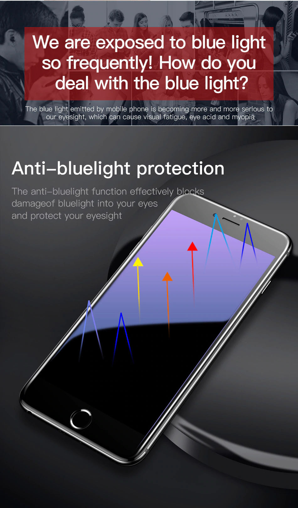 5D Curved Screen Protector For iPhone 7 8 Tempered Glass Full Screen With Rounded Corners Anti Blue Light Front Glass For iPhone 7 Plus 8 Plus