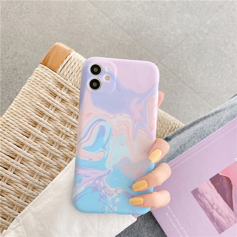 Gorgeous Cute Candy Color Marble Fashion Phone Case For iPhone 12 Pro 11 Pro Max SE 2020 XR XS Max X 7 8 Plus Luxury Back Cover For iPhone