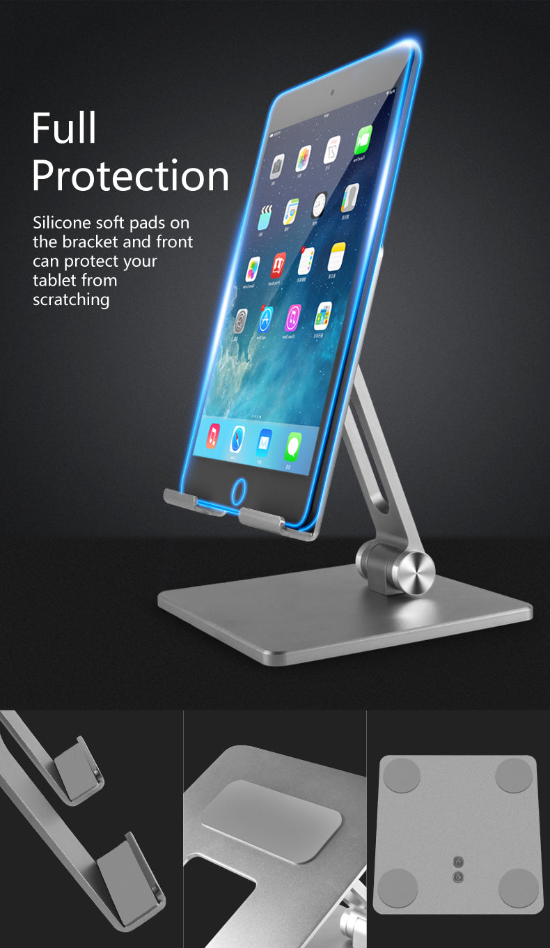 Adjustable Angle Aluminum Desk Stand For Mobile Phone Desktop Mount For iPhone Or iPad Table Stand Universal Can Be Used For Most Tablets or Smartphones