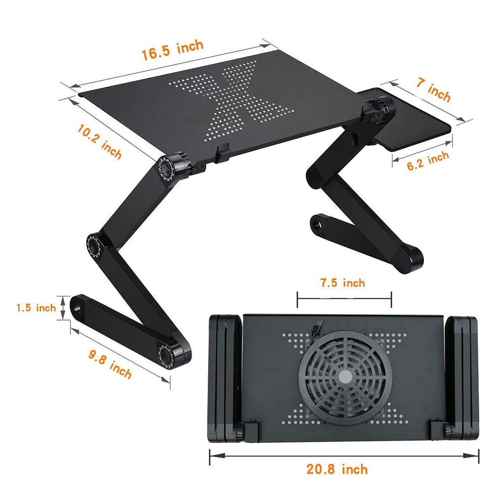 Adjustable Foldable MacBook Laptop Table Stand Portable Universal Ergonomic Design Provides For Effective Working From Home With Built In USB Fan & Ventilation