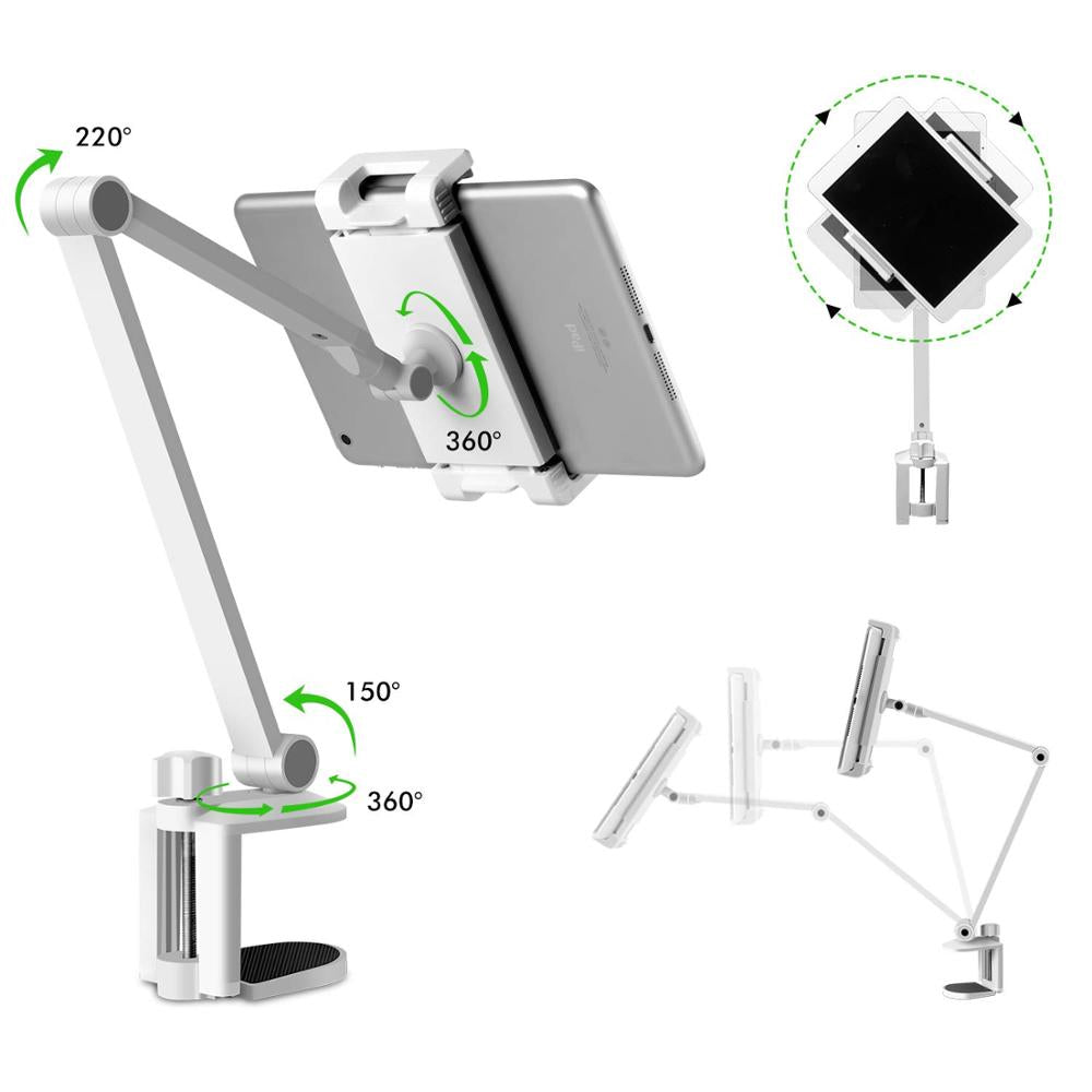 Adjustable Tablet Stand For iPad Long Arm Rotating Multiple Angle Height Adjustable Mobile Phone Holder With Desk Clamp Constructed From Premium Aluminum