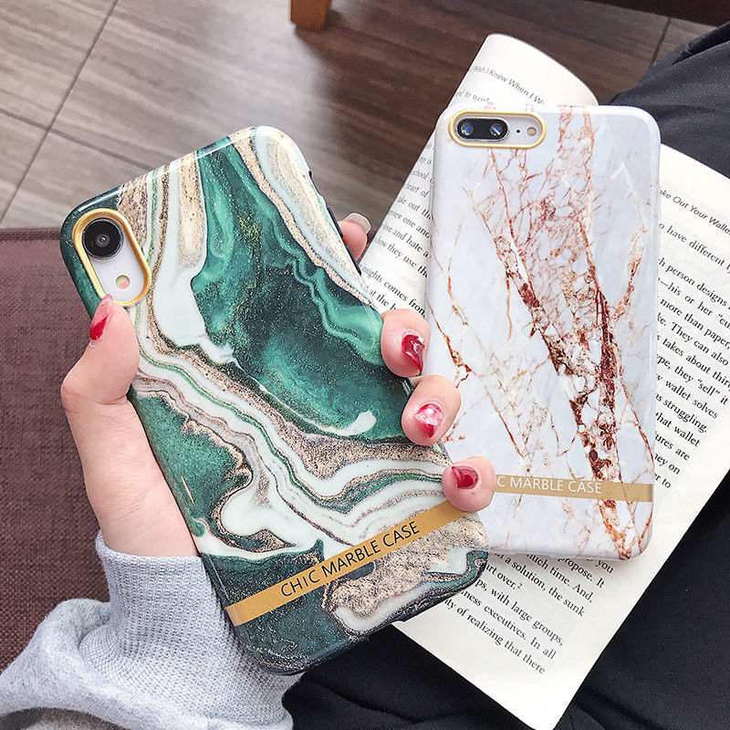 Agate Marble & Gold Phone Case For iPhone XS XR XS Max 6 6S 7 8 Plus Glossy Soft Silicon Luxury Fashion Artistic Case iPhone Fitted Case