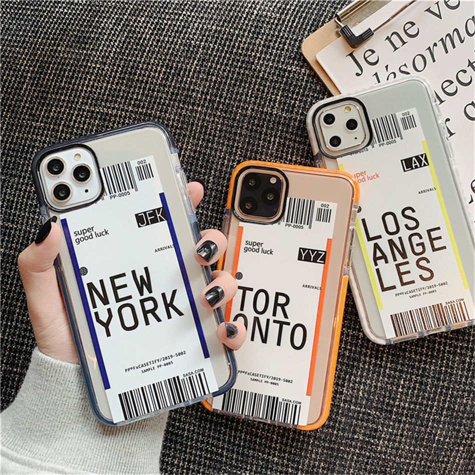 Airplane Ticket Phone Case For iPhone 11 Pro XS MAX XR X 8 7 6S 6plus Clear Soft TPU Back Cover Boarding Pass Designer Phone Case for iPhone