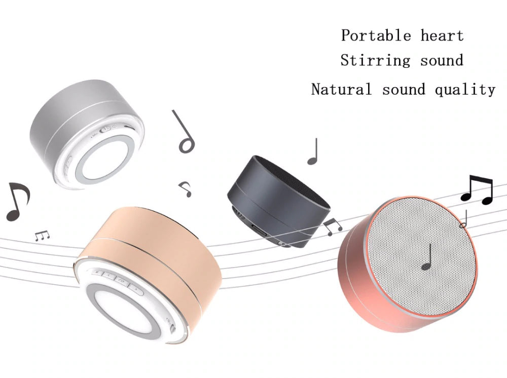 Aluminum Alloy Wireless Bluetooth Mini Speakers For Cell Phone LED Light Stereo Portable Speakers Hand-Free Call FM Audio TF Card