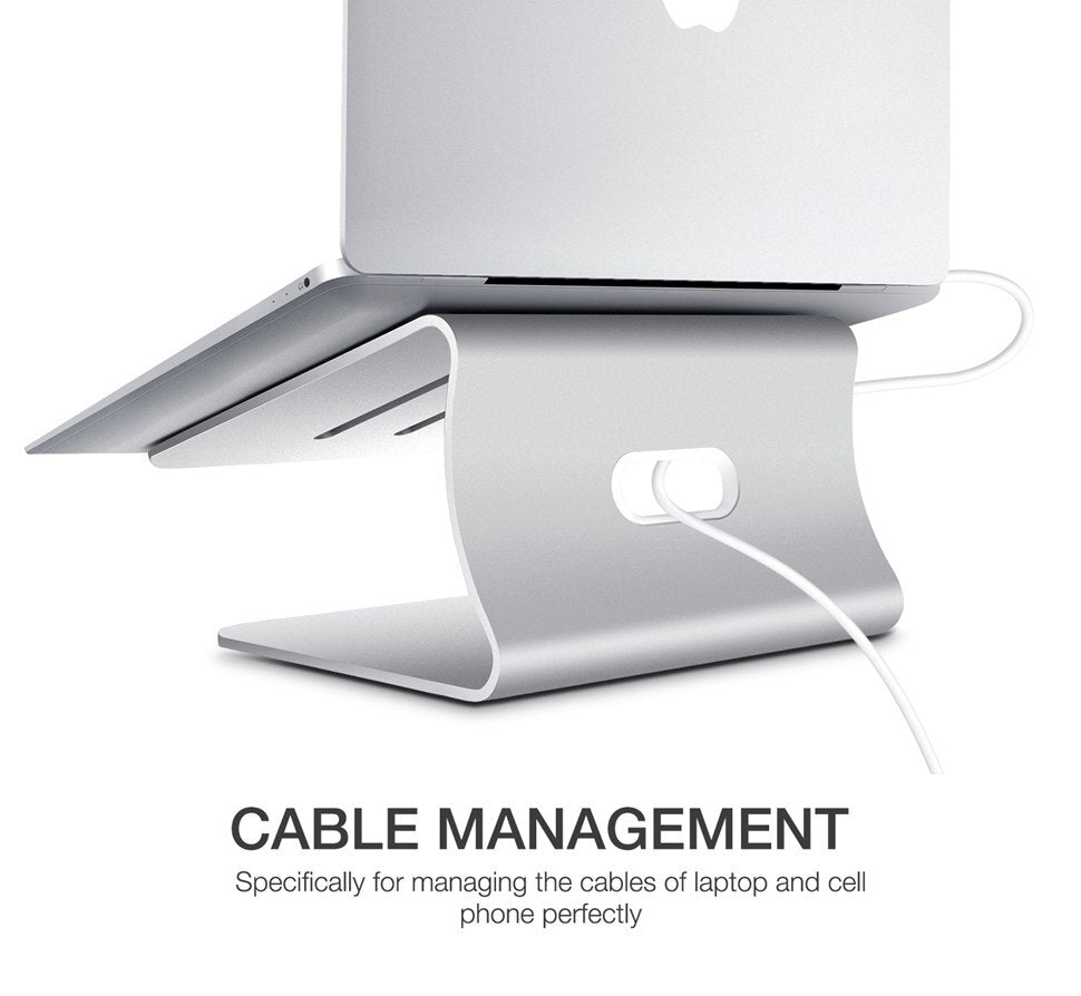 Aluminum MacBook Pro Laptop Stand For Desktop Ergonomic Design Increases Screen Height For Better Posture Whilst Working Includes Built-in Heat-Sink Ventilation