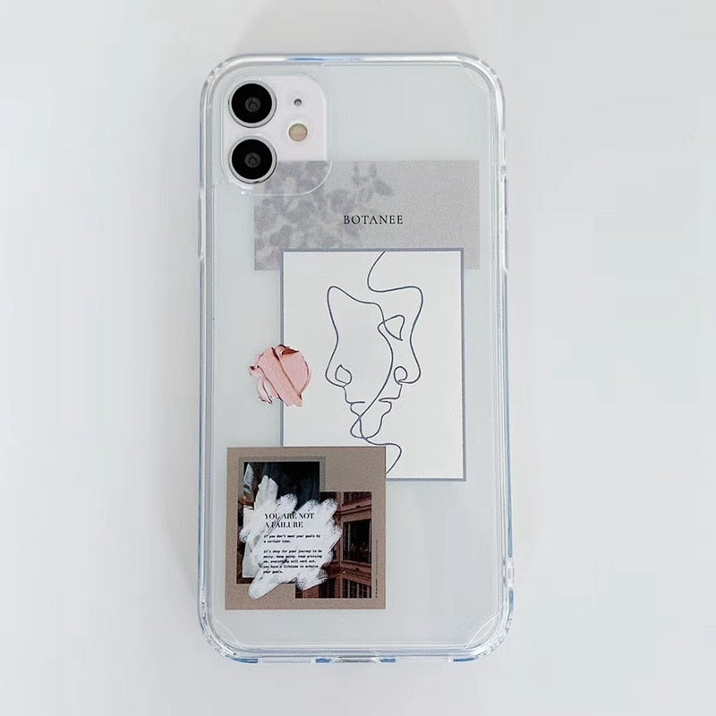 Artistic Fashion Love Quotes Notes Retro Phone Case For iPhone 12 Mini 11 Pro Max SE 2020 X XR XS Max 7 8 Plus Soft TPU Transparent Fitted Phone Case For iPhone