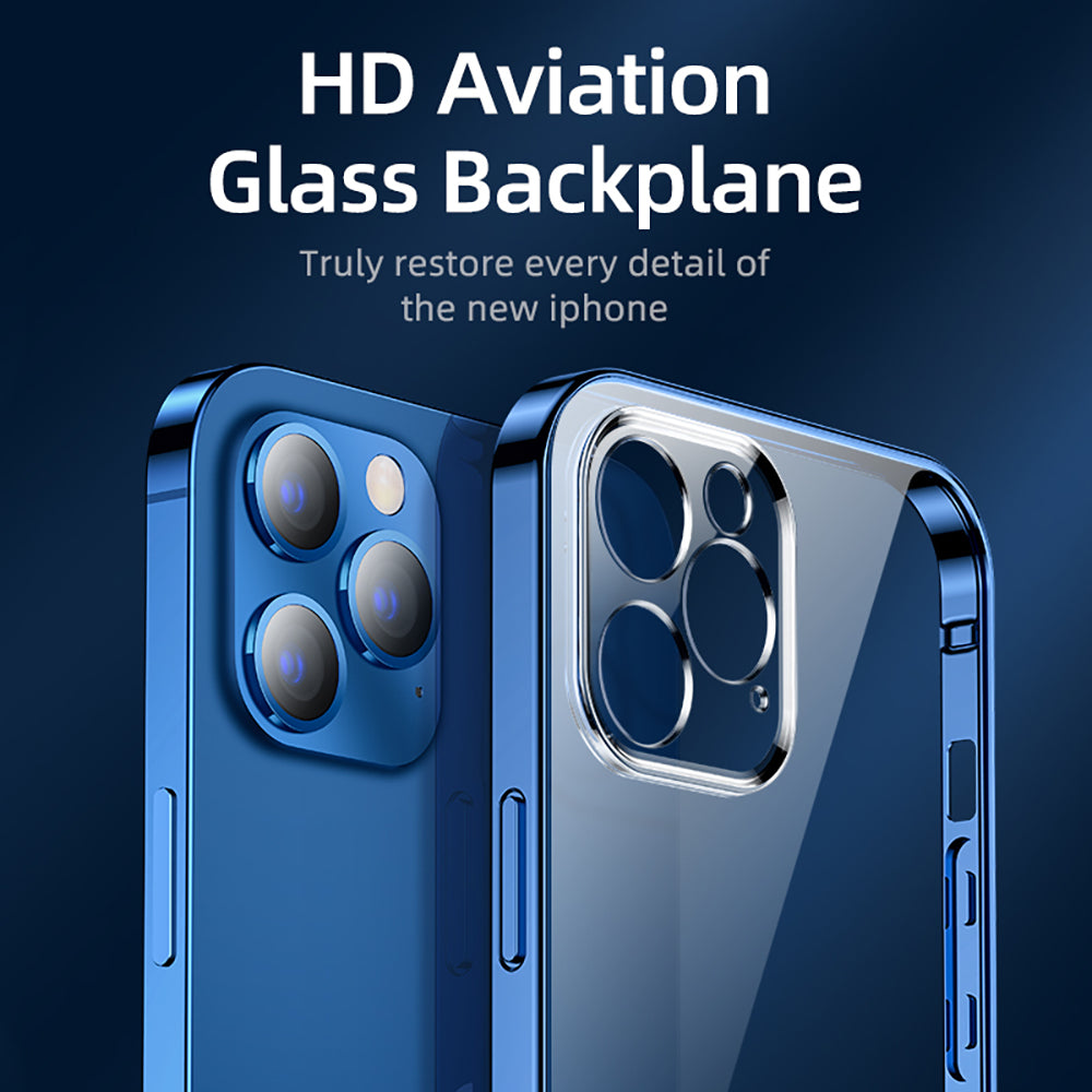Aviation Glass Clear Case For iPhone 12 Pro Max 12 mini PC+TPU Shockproof Full Lens Protection Ultra HD Highly Transparent Soft TPU Cover For iPhone 12
