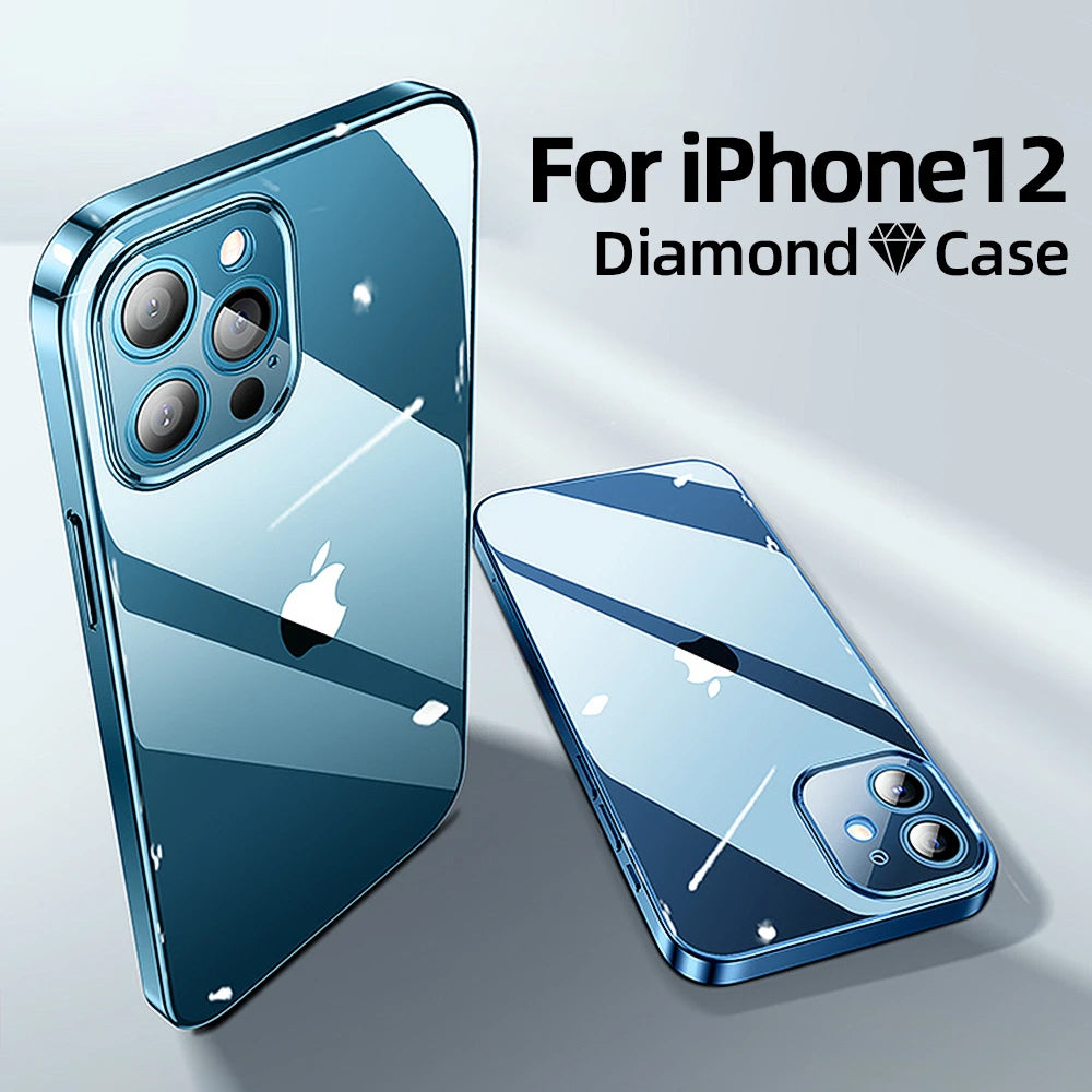 Aviation Glass Clear Case For iPhone 12 Pro Max 12 mini PC+TPU Shockproof Full Lens Protection Ultra HD Highly Transparent Soft TPU Cover