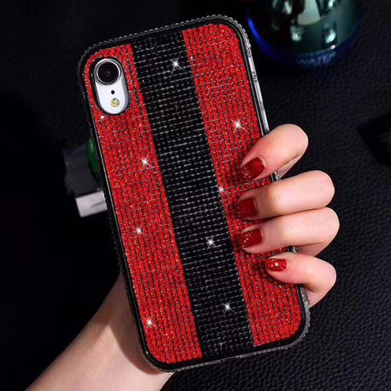 Bling Diamond Glitter Luxury Fitted Case for iPhone X XS XR MAX Anti-Knock Rhinestone Jeweled Soft TPU Case For iPhone 6 6Plus 7Plus 8 8Plus Case