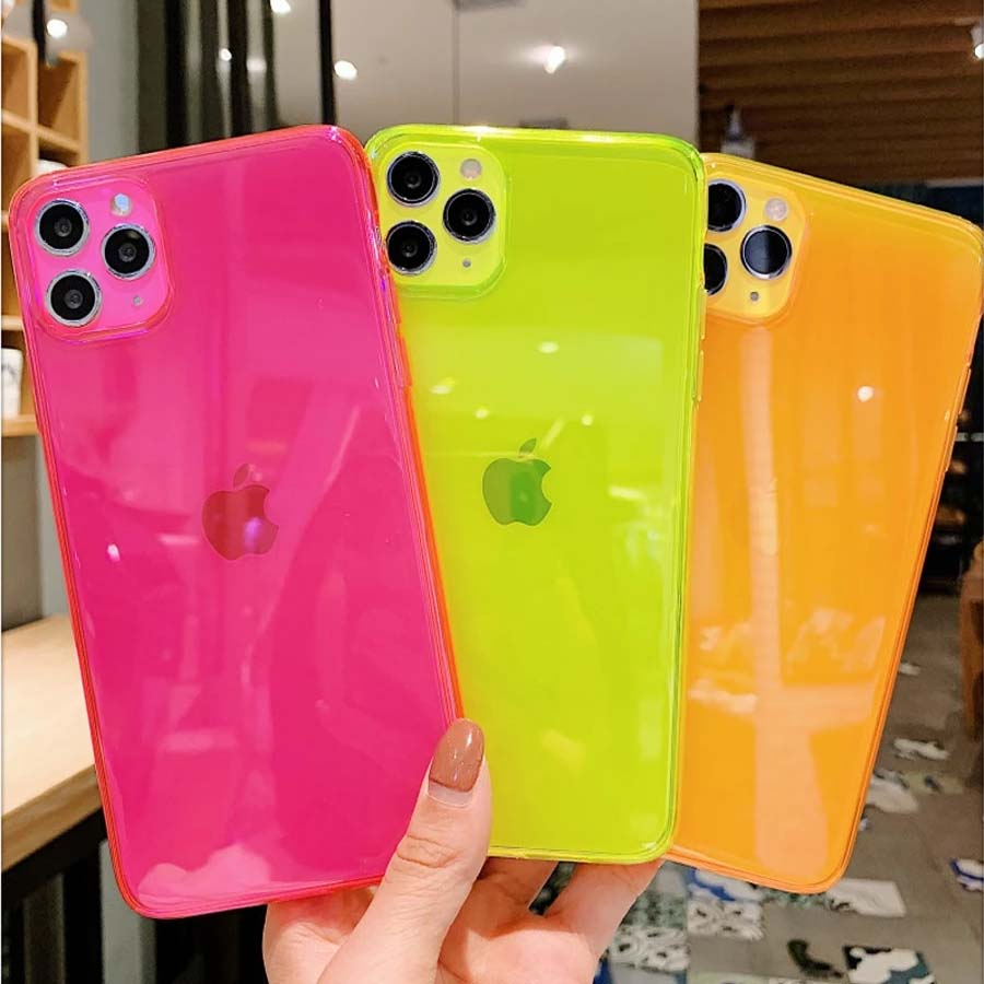 Bright Day Glow Fluorescent Neon Color Phone Cases For iPhone 13 12 11 Pro Max Mini X XR XS Max 6 6S 7 8 Plus SE 2020 Full Protection Fitted Case