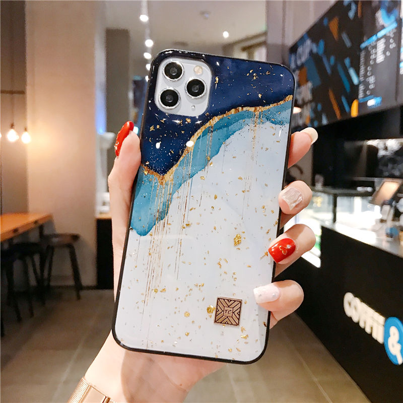Chic Gold Foil Glitter Marble Phone Cases for iPhone 12 11 Pro Max XR X 8 7 6 Plus Soft Silicone Fitted Case for iPhone XS Max SE 2020