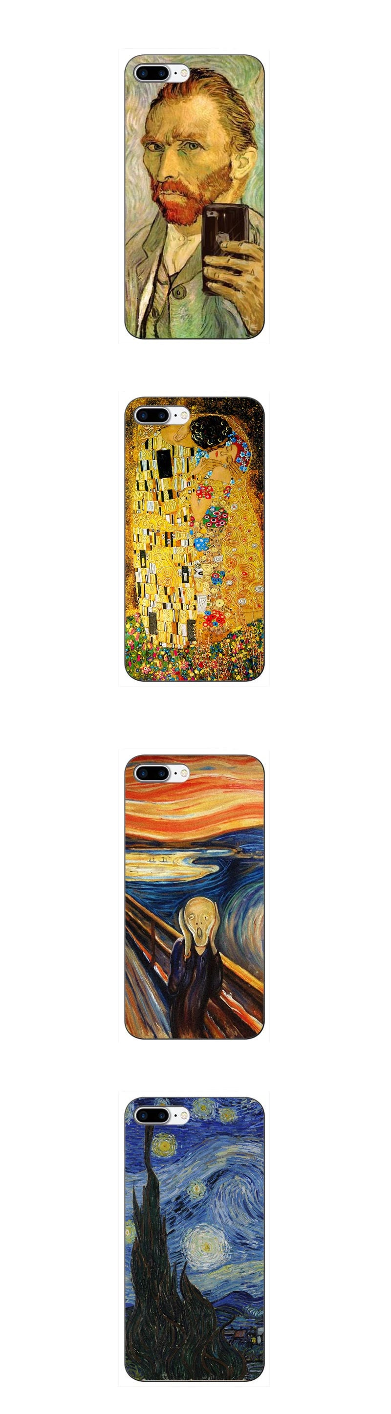 Classic Art Phone Case For iPhone XR XS MAX 5 5S SE 6 6SPlus 7 7PLUS 8 8Plus Gustav Klimt The Kiss Art Van Gogh Phone Case
