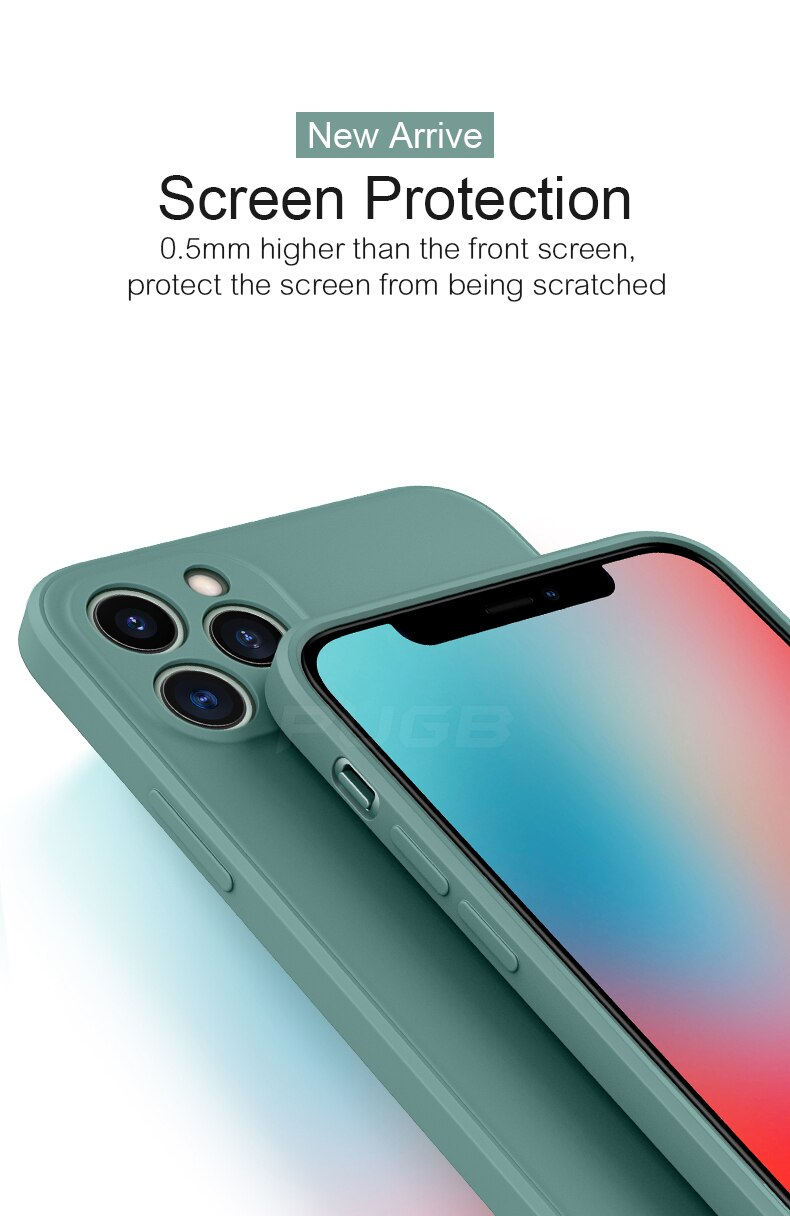 Classic Minimalist Square Edge Liquid Silicon Phone Case For iPhone 12 11 Pro Max Mini iPhone X XS XR 7 8 6 6S Plus SE 2020 Fitted Case With Camera Protection For iPhone
