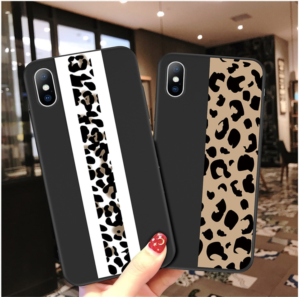 Classy Fashion Leopard Print Fitted Case For iPhone X XR XS Max 6 6s 7 8 Plus 5 5s SE Colorful Animal Print Soft TPU Matte iPhone X Phone Case