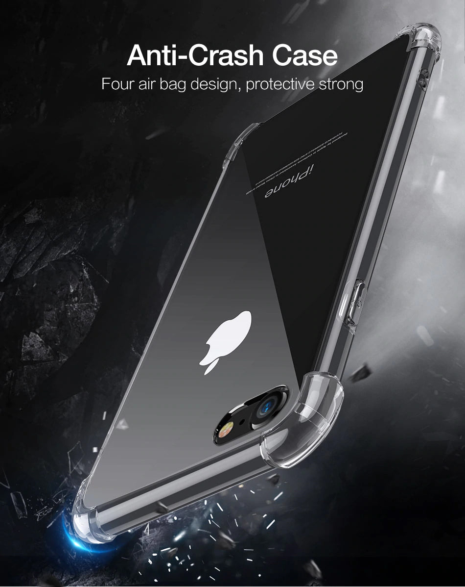 Clear Shockproof Case For iPhone X 6 7 8 Plus Soft Silicone Transparent Cases For iPhone XS Max XR 5S 5 SE 7 Phone Case