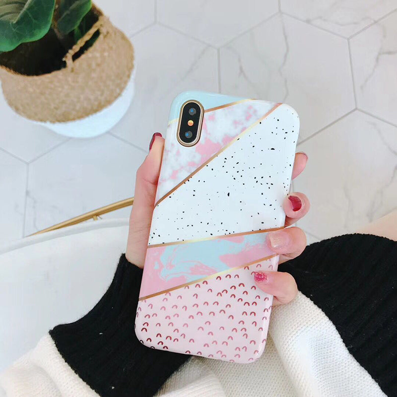 Colorful Abstract Marble iPhone Case For iPhone X Case For iPhone 6S 6 7 8 Plus Geometric Patterns Cases Cool Retro Cover