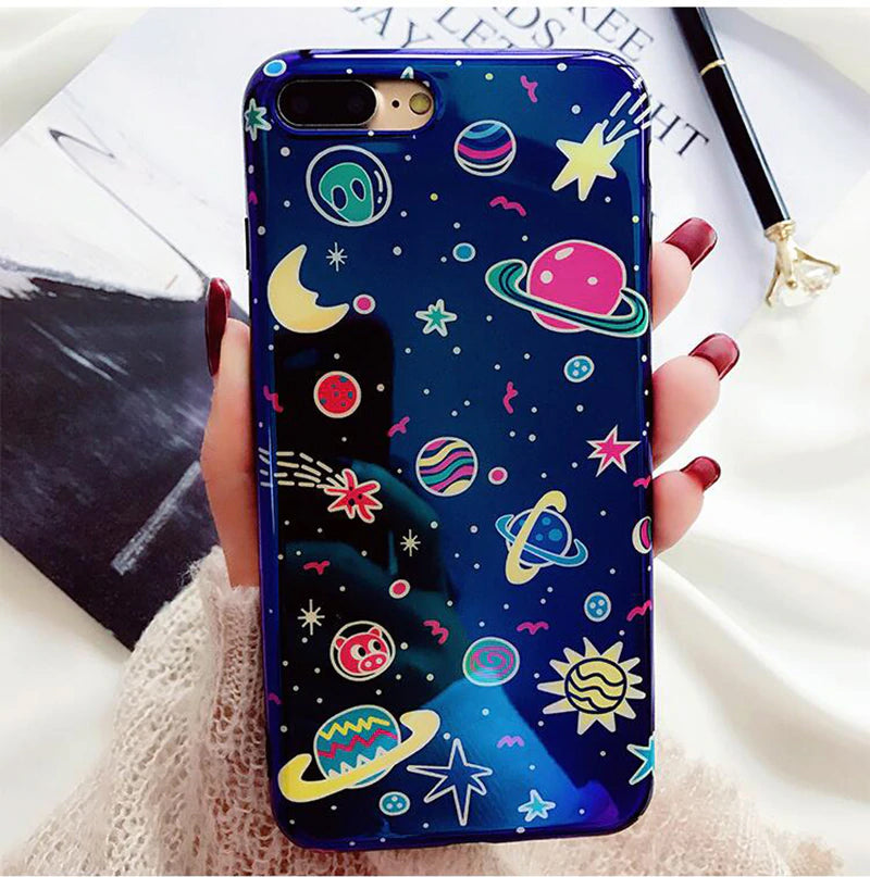 Colorful Cosmic Glossy Universe Fashion iPhone Case For iPhone X Case For iPhone 6 6S 7 8 Plus Fashion Cute Planets Moon Stars Midnight Blue Cover