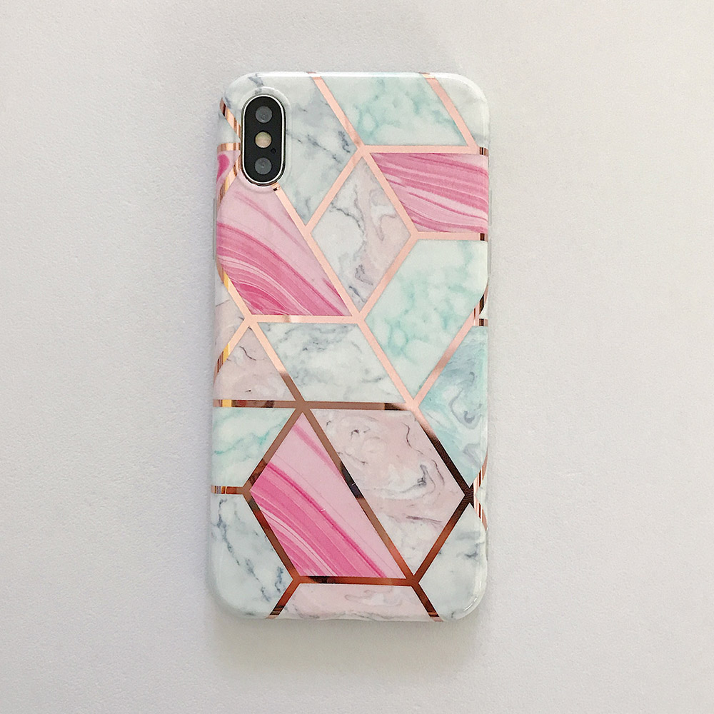 Colorful Geometric Marble Case For iPhone 11 Pro Max XR XS Max 6 6S 7 8 Plus X Soft Protective Fitted Back Cover Cute Case For iPhone