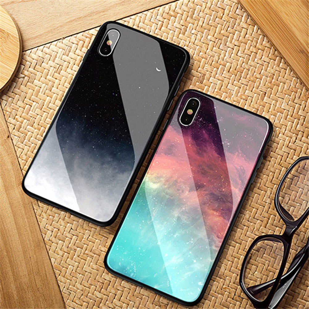 Colorful Night Sky And Stars Toughened Glass Phone Case For iPhone X XR XS  Max 6 6s 7 8 Plus Fitted Case Smooth Glossy Quality Case For iPhone X