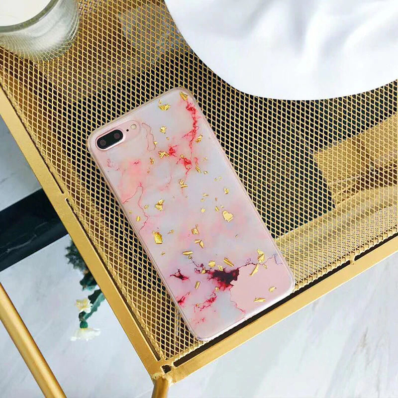 Cool Marble Foil iPhone Cases For iPhone 6S iPhone X 6 7 8 Plus Cases Fashion Pink Black White Gold Back Covers Cool Classic Granite
