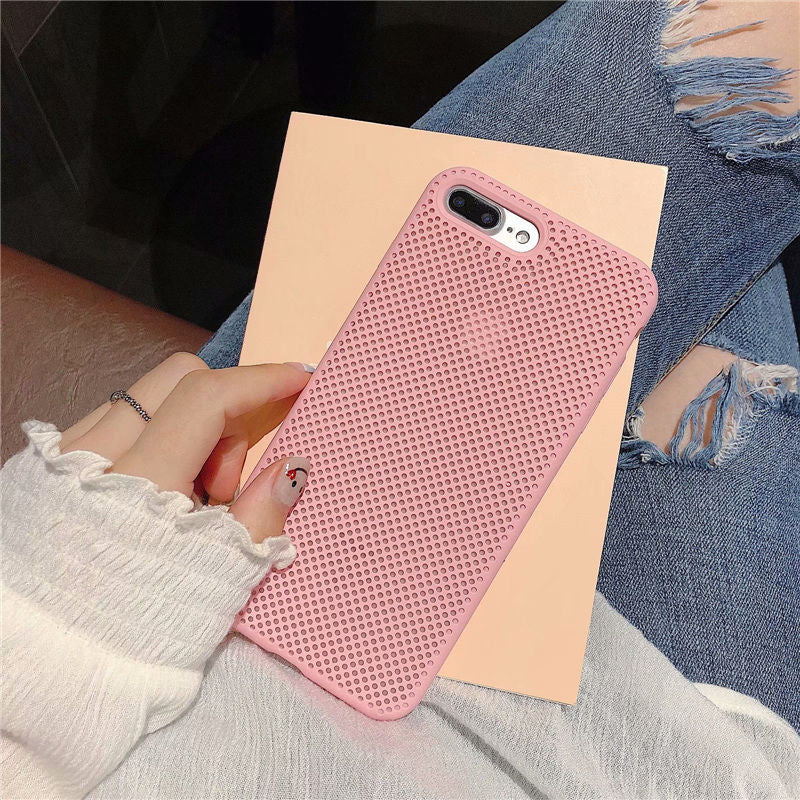 Cool Mesh Case for iPhone X XR 7 8 6S Plus Liquid Silicone Breathable Phone Cases For iPhone XS Max Heat Dissipation Back Cover
