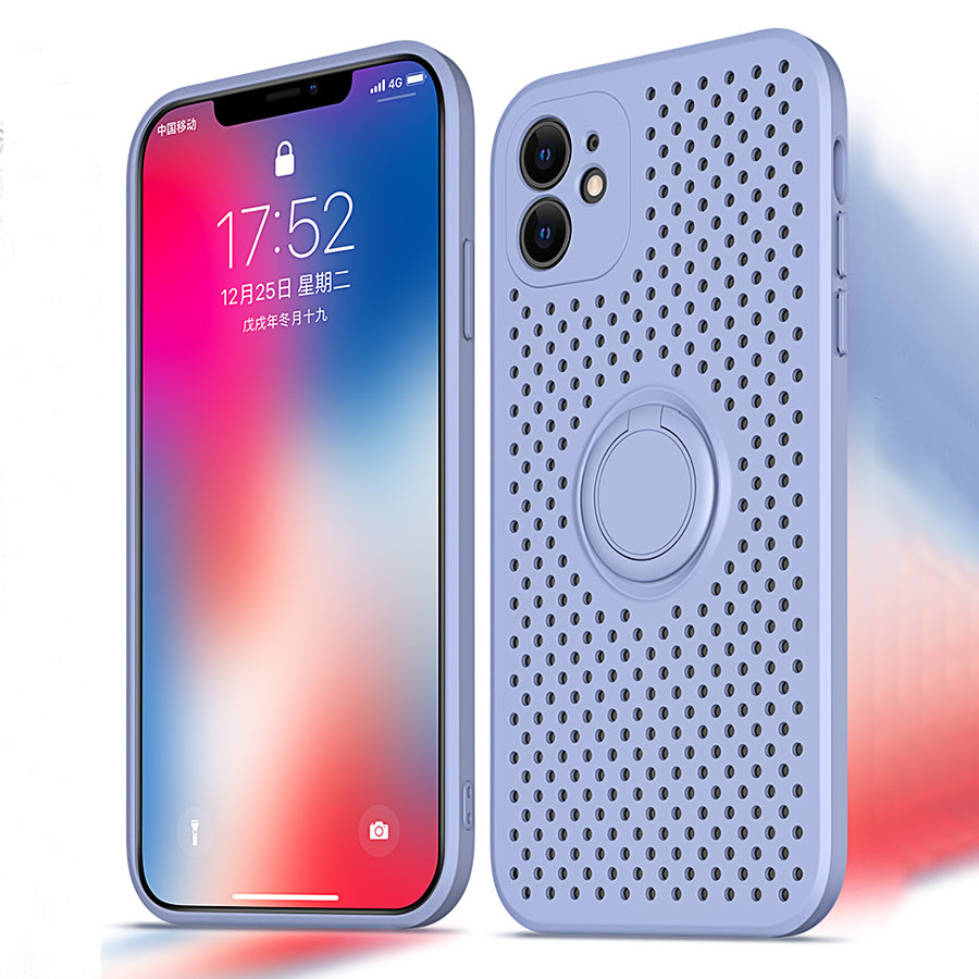 Cooling Ventilated Case For iPhone 11 Pro Max XR X XS Max 7 8 Plus Case Soft Silicon Fitted Case With Rotating Finger Ring Magnetic Holder Stand Cover for iPhone