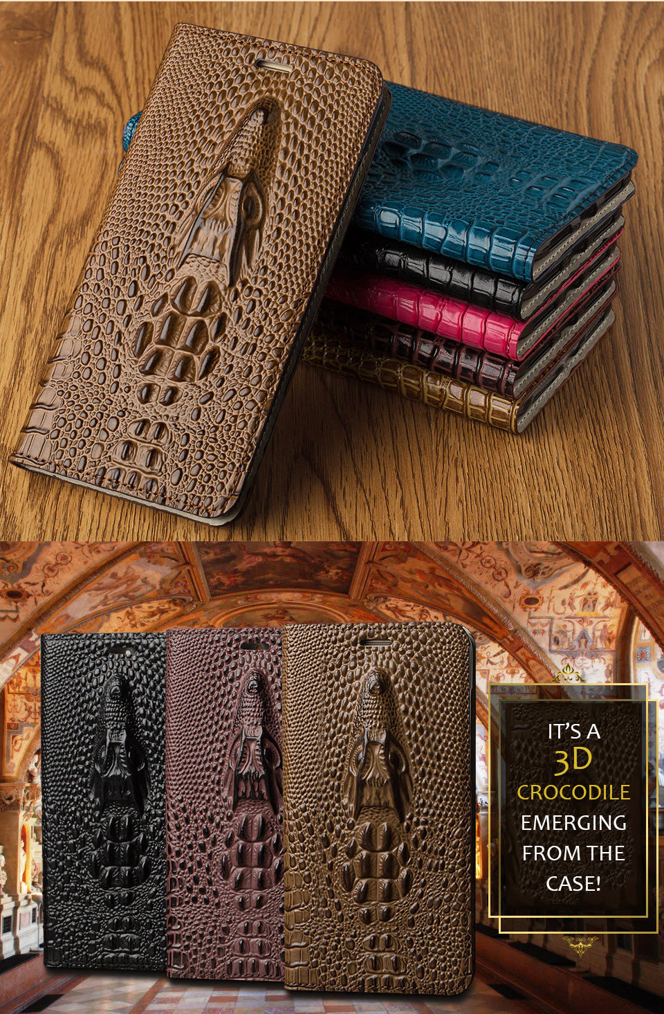 Crocodile Phone Case For iPhone X XS XSmax XR 6 7 8 8plus Genuine Leather Flip Case With Built In Card Protector Magnetic Case for iPhone
