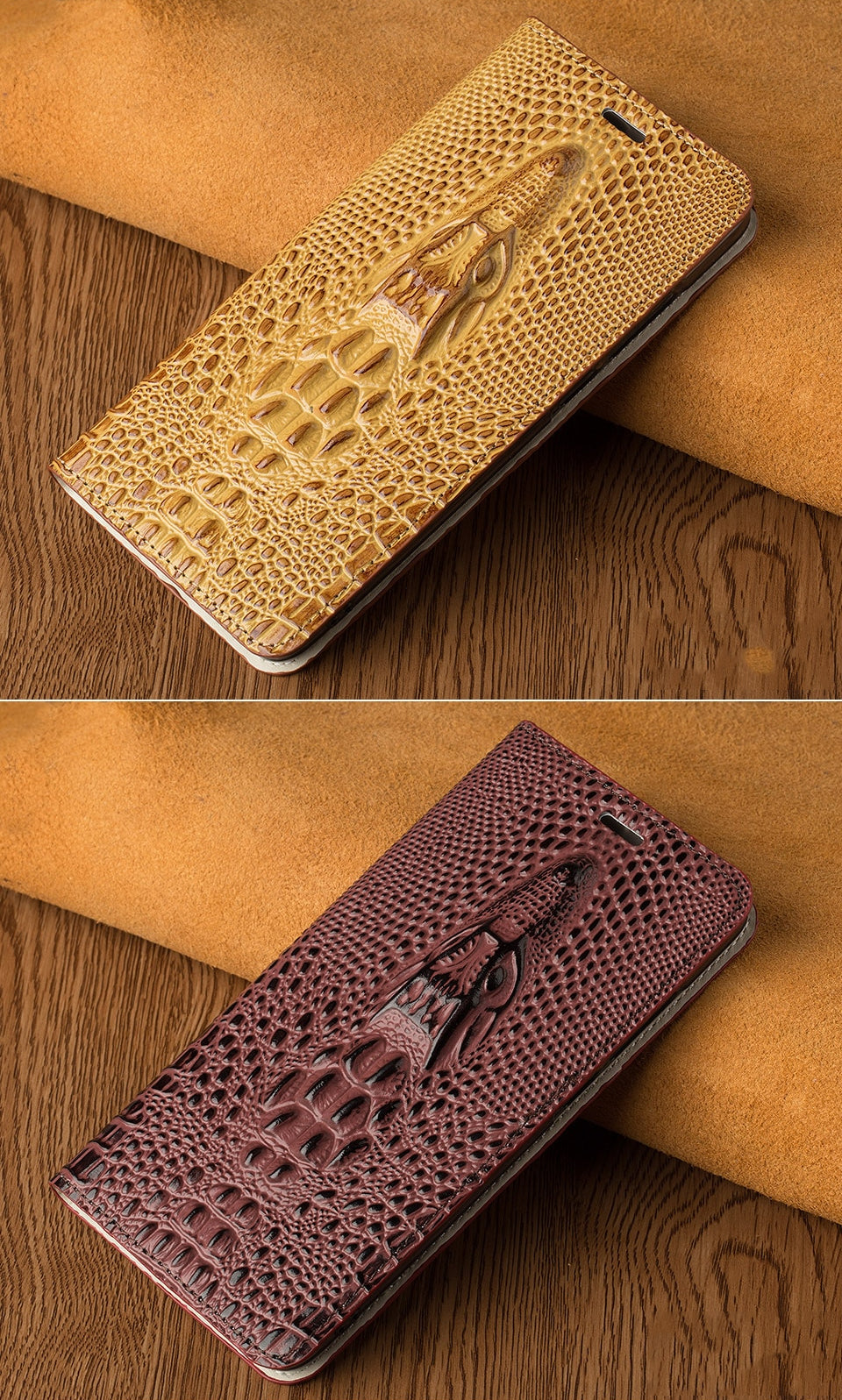 Crocodile Phone Case For iPhone X XS XS Max XR 6 7 8 8 Plus Genuine Leather Flip Case With Built In Card Protector Magnetic Case for iPhone