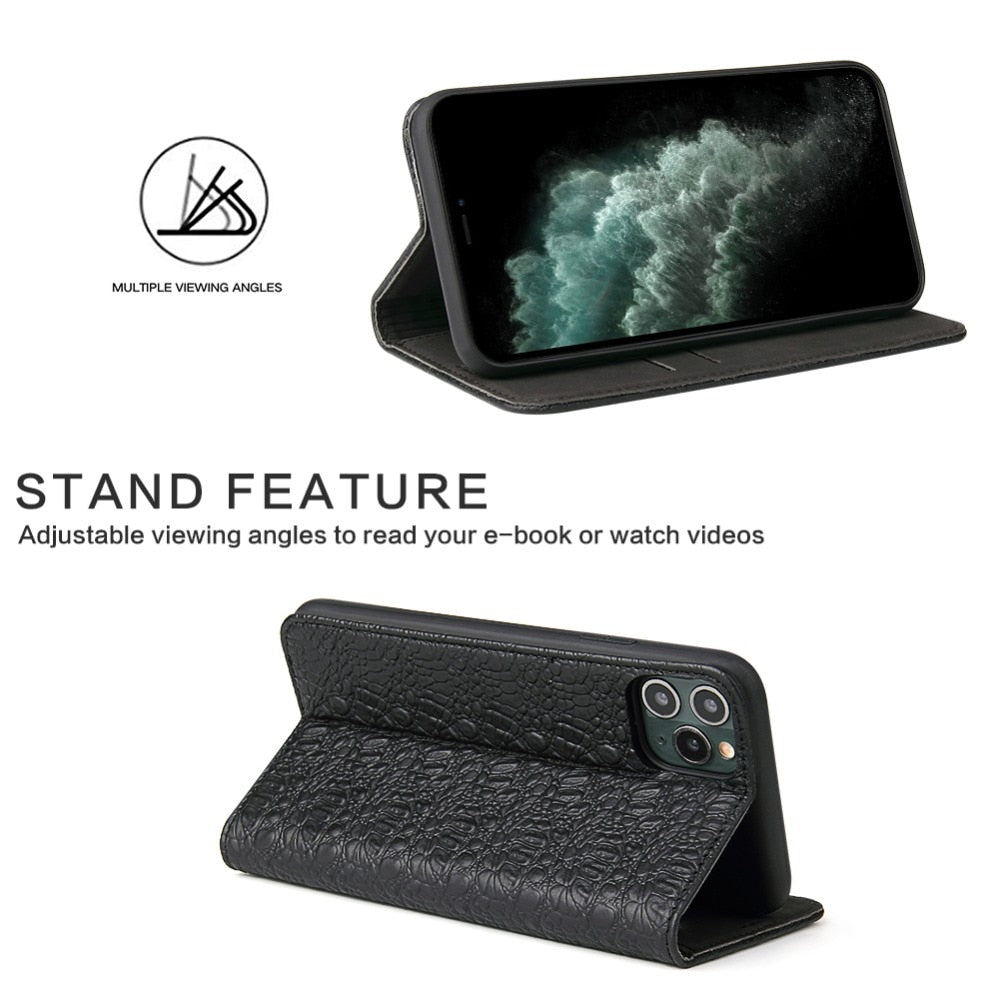 Crocskin Camshell Real Leather Flip Case for iPhone 12 11 Pro Max Xs Max XR X 8 7 6s Plus SE Premium Quality Cowhide Cardholder Crocodile Flip Case For iPhone
