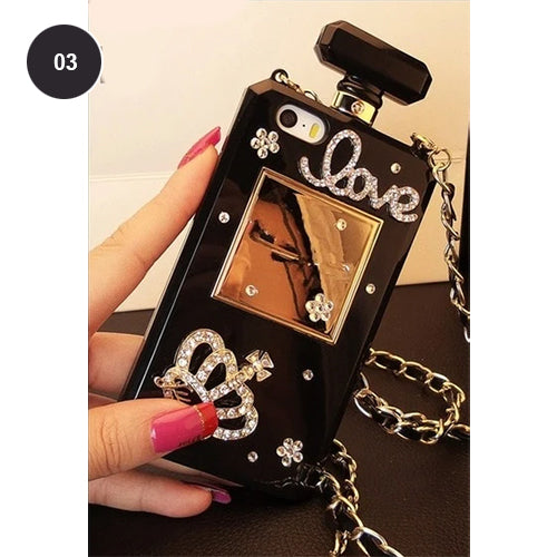Crystal Bling Diamonds And Pearls Perfume Bottle Designer Phone Case For iPhone 11 12 Pro Max XS MAX XR 5S 6S 7 8PLUS Rhinestone Case For iPhone