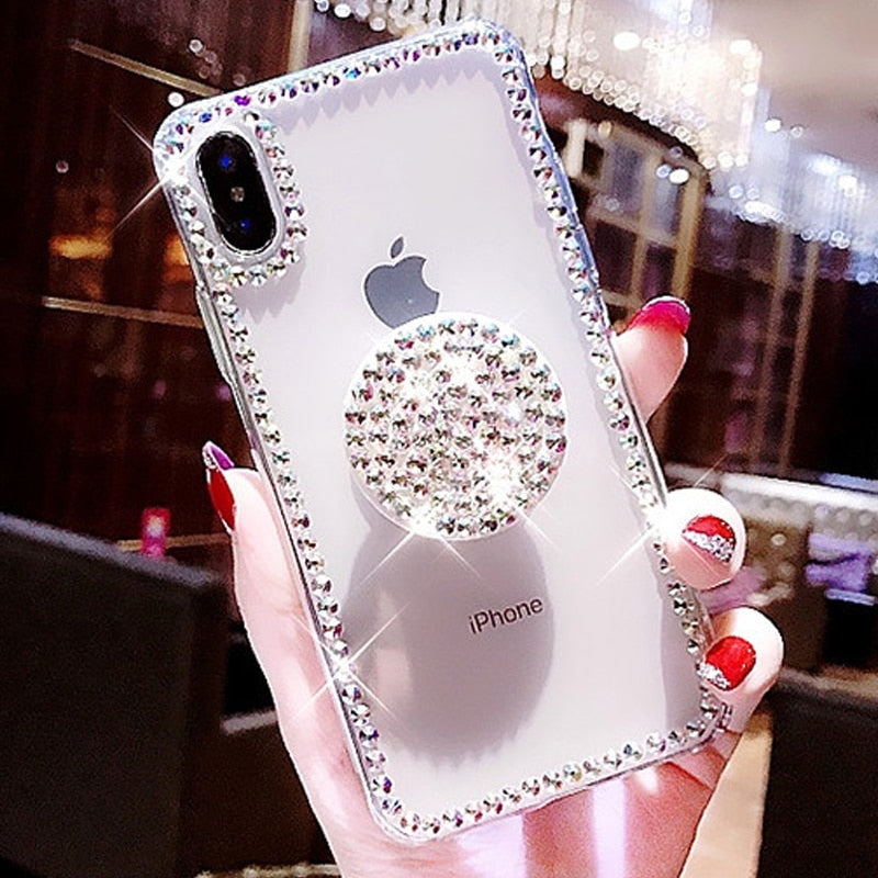 Crystal Bling Rhinestone Clear Phone Case For iPhone X 8 7 6 6S Plus XR XS MAX Diamond Glamour Stand Finger Ring Holder Transparent iPhone Case