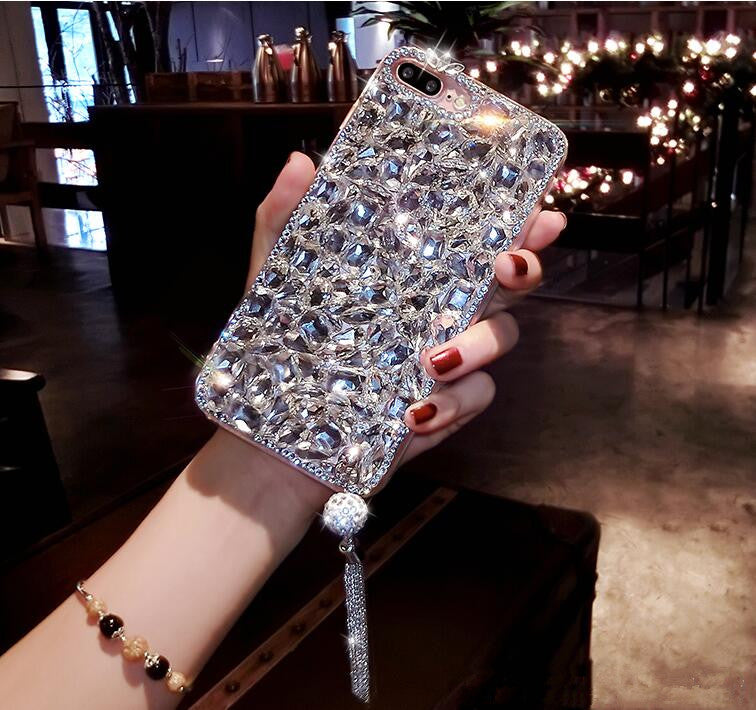 Crystal Diamond Bling Jewelled Rhinestone Case For iPhone Soft Back Anti-Knock Glamour Phone Case For iPhone X 6s 7 8 Plus 5 SE XR Xs Max