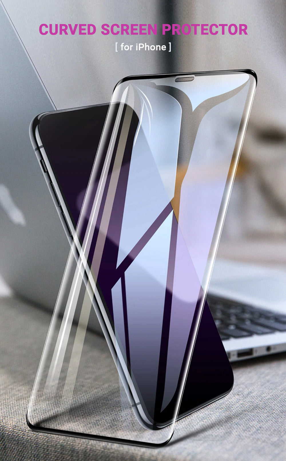 Curved Glass Screen Protector For iPhone X XS XS MAX XR 9 8 7 6 6S Plus Full Screen Coverage Protection Curved Tempered Glass Without Borders