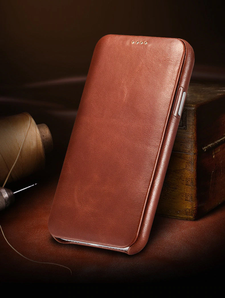 Curved Vintage Full Grain Genuine Leather Cowhide Flip Phone Case Natural Cowhide Leather New Leather Case For For iPhone X XS Max XR
