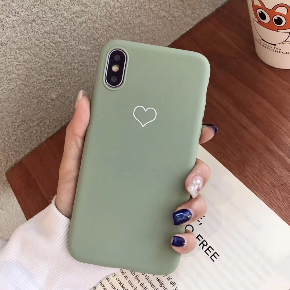 Cute Candy Color Love Hearts Minimalist Phone Case For iPhone XR XS Max 6 6s 7 8 Plus X Heart Vintage Soft TPU Protective Back Cover For iPhone