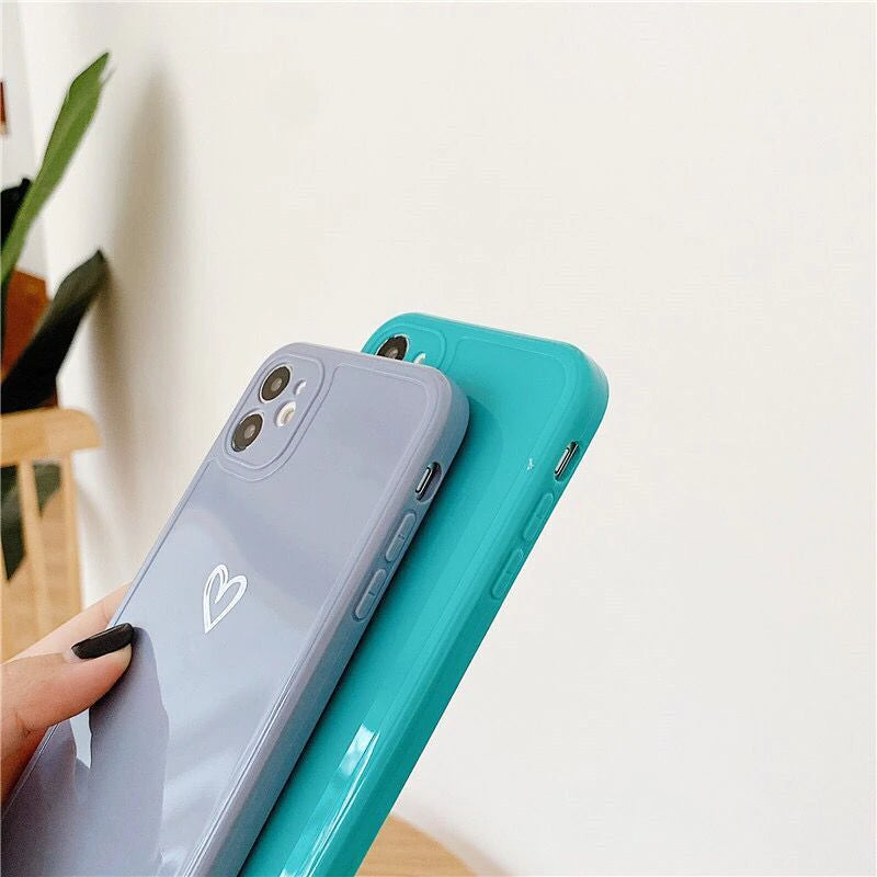 Cute Candy Colors Minimalist Love Heart Phone Case For iPhone 11 Pro Max 7 8 Plus X XR XS Max 12 Square Edge Frame Back Cover For iPhone