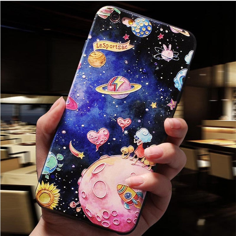 Cute Embossed Phone Cases For iPhone Cute Cat In Space Flower Case For iPhone XS Max X XR 5 S 7 8 6 S Plus Anti-Knock 360 Degree Protection