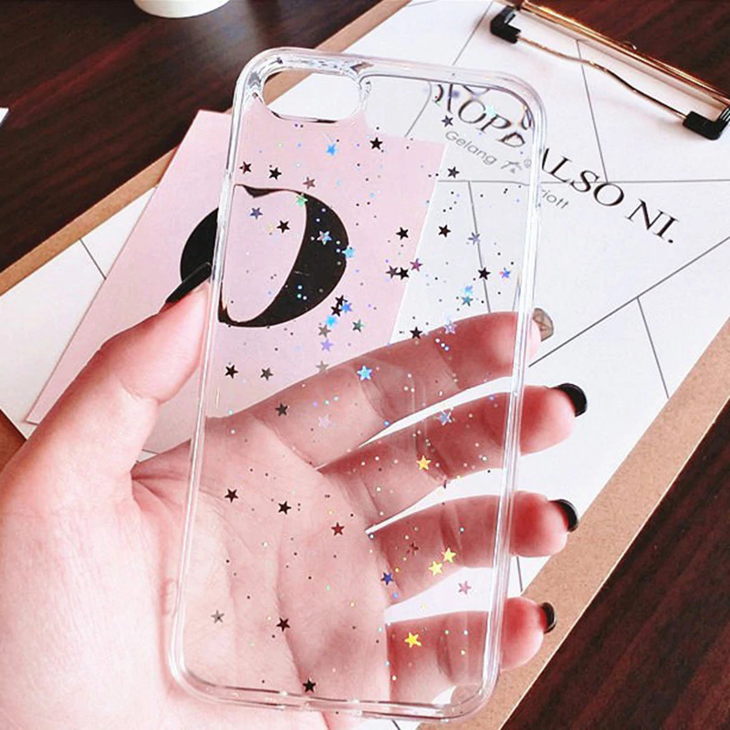 Cute Glitter Stars Crystal Clear Cover For iPhone 11 XS MAX X 7 8 plus Soft TPU Case Case for iPhone 6 s 6s Plus Glossy Cute Fitted Cases for iPhone