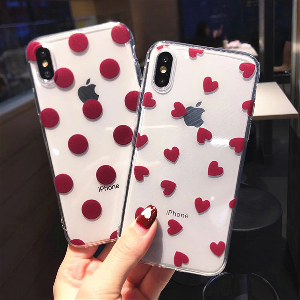Cute Love Hearts Ultra Slim Transparent Case For iPhone 11 Pro XS Max XR XS X 6 6S 7 8 Plus Soft TPU Clear Phone Back Cover
