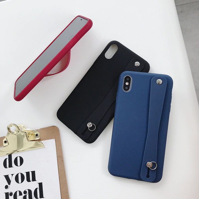 Cute Pastel Colors Soft Silicone iPhone Holder Case For iPhone XR X Xs Max Case For iPhone 7 8 6 6s Plus Solid Color Wrist Strap Back Cover