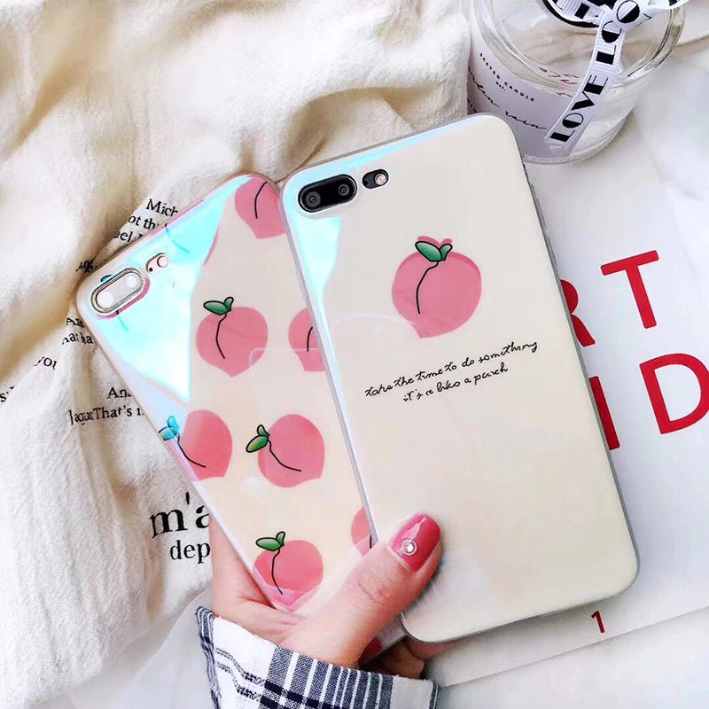 Cute Summer Fruit Cases For iPhone XR XS Max X 6 6S 7 8 Plus Peach Pineapple Watermelon Soft Fitted Case Protective Phone Back Cover