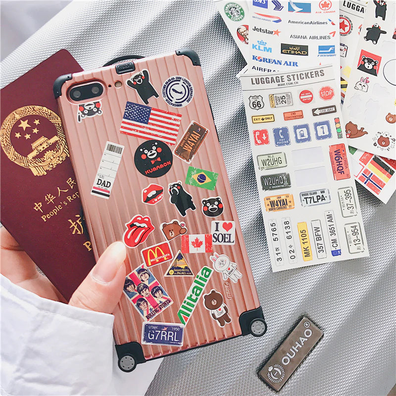 Cute Travel Suitcase Phone Case For iPhone 6 S 7 8 Plus iPhone X XR XS Max Cool iPhone Case For Travel Lovers Complete With DIY Travel Stickers